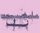 Vector sketch. The gondolier floats on a gondola in Venice — Stock Vector