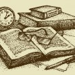 Vector still life. Old books, paper, pen and clock — Vector de stock