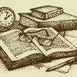 Vector still life. Old books, paper, pen and clock — Stockvectorbeeld