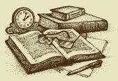 Vector stilleven. oude boeken, papier, pen en klok — Stockvector
