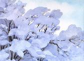 Tle akwarela. gałęzie drzewa zima śnieg — Zdjęcie stockowe