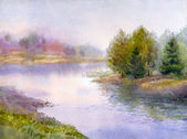 Watercolor landscape. Gorgeous evening on the forest lake — Stock Photo