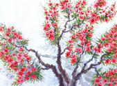 水彩背景。春天树的红色花朵 — 图库照片