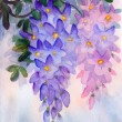 Watercolor painting. Lush clusters of wisteria - Foto de Stock