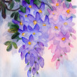 Watercolor painting. Lush clusters of wisteria - Stock Photo