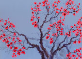 Watercolor background. Red flowers on the tree — 图库照片