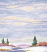 Fondo de paisaje acuarela. piceas en campo cubierto de nieve — Foto de Stock