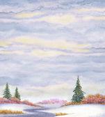 水彩风景背景。云杉在雪原 — 图库照片