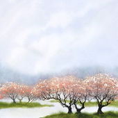Watercolor landscape background. Flowering trees near the river — Stock Photo