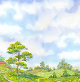 Watercolor landscape summer day. Tall oak tree beside the path — Stock Photo