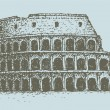 Vector drawing  from a series of landmark. The Colosseum in Rome - Stock Vector