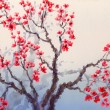Watercolor landscape in Chinese style. Red flowers bloom on the — Stock Photo #22895470