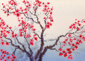 Watercolor landscape in Chinese style. Red flowers bloom on the — Stock Photo
