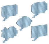 Cloud for a speech of gray cubic blocks — Stock Vector