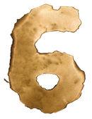 Verbranntes papier zahlen isoliert auf weißem hintergrund. nummer sechs — Stockfoto