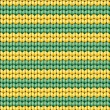 Vector seamless background. Knitted fabric with green and yellow stripes — Stock Vector