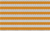 Vector seamless background. Knitted fabric with white and orange stripes — Stock Vector