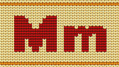 Vector Red knitted alphabet. Letter M — Stock Vector