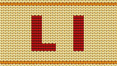 Vector Red knitted alphabet. Letter L — Stock Vector