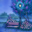 Watercolor landscape. Glowing lantern near the bench in park — Stock Photo