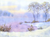 Watercolor landscape. Winter night over the lake and trees — Stock Photo