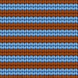 Stock Vector: Vector background. Knitted fabric with brown and blue stripes