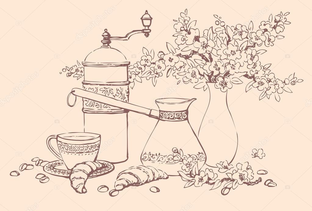 矢量静物.咖啡配件, 羊角面包和一只花瓶里的花