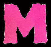 Letters from torn scraps of colored paper. Letter M — Stock Photo