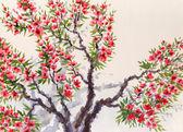 Fond aquarelle. fleurs rouges sur l'arbre — Photo