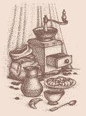Wektor martwa. filiżanka kawy z rogalików — Wektor stockowy