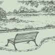Royalty-Free Stock Vector Image: Vector landscape. Bench in the park overlooking the river