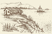 Vector landscape. Fisherman's hut on a cliff near sea — Stock Vector