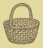 Vector. Monochrome picture wickerwork basket — Stock Vector