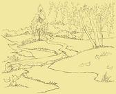 Vektor krajina. cesta a stream v podzimním lese — Stock vektor