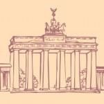 hito de Vector. bosquejo de los principales monumentos de Berlín - Brandenburgo — Vector de stock