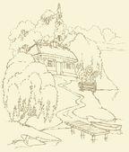 Vector landscape. Old huts near river — Stock Vector