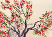 Watercolor background. Red flowers on the tree — Stock Photo