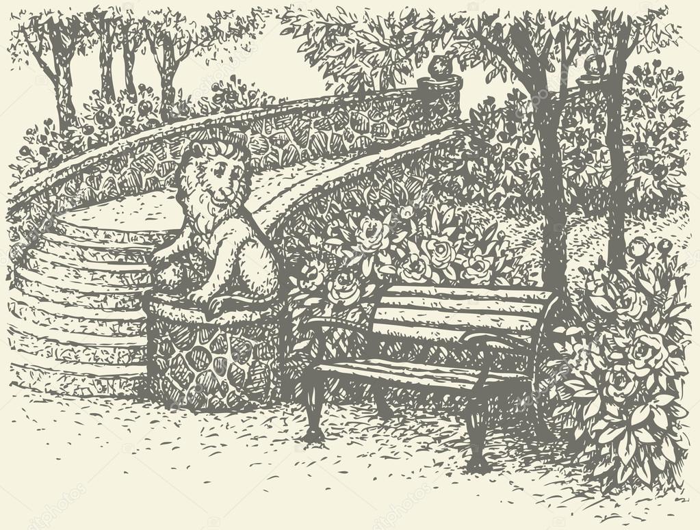 banco de jardim vetor:Paisagem de vetor. banco de jardim ao lado de estátuas rodeada por