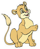 Cartone animato di vettore. leone bambino carino — Vettoriale Stock