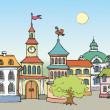 Vector cityscape. Panorama fabulous historic town square — Stock Vector