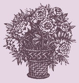 Vector still life. Llush bouquet of peonies in basket — Stock Vector