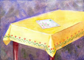 Watercolor painting table with yellow cloth and an embroidered napkin — 图库照片