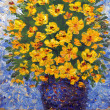Oil painting. Lush bouquet of yellow flowers in blue vase — Stock Photo #33977007