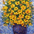 Oil painting. Lush bouquet of yellow flowers in blue vase — Stock Photo