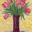 Still life oil. Bouquet of pink tulips in high vase — Stock Photo