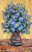 Still life oil painting. Bouquet of blue flowers in a vase — Stock Photo