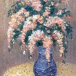 Still life oil. Bouquet of pink flowers in blue vase — Foto Stock