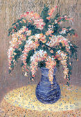 Still life oil. Bouquet of pink flowers in blue vase — Stock Photo