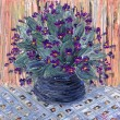 Still life oil. Delicate bouquet of violets in dark vase — Stock Photo