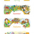 Watercolor frame for text. Seasons in nature with children — Stock Photo